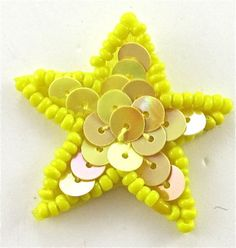 """Star Yellow Sequins and Bright Yellow Beads 1.5"""""""