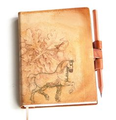 Free initials Oak tree horse leather journal. $39.00, via Etsy.