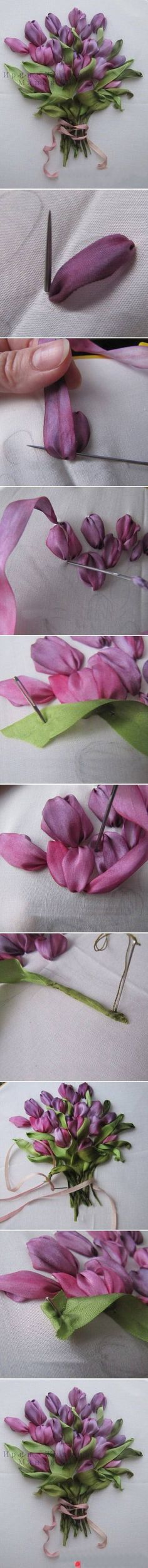 Woah! Silk ribbon embroidery tulips demonstrated - exquisite!!!!  Would be esp. pretty done in over-dyed silk ribbon!: