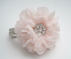Romantic Blush Pink Chiffon Rhinestone Wrist Corsage with
