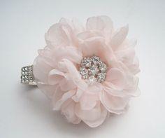 Romantic Blush Pink Chiffon Rhinestone Wrist by theraggedyrose