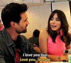 I love you too. / Love you, love ya. || Brett Dalton, Chloe Bennet || SDCC 2014 || 245px × 220px || #animated #cast #skyeward