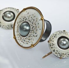 Vrubel Ring and Earrings.  Vitreous enamel, Tahitian pearls, 22K gold, 18K gold, fine silver, oxidized silver.
