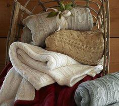 Pottery Barn cable knit fleece throw