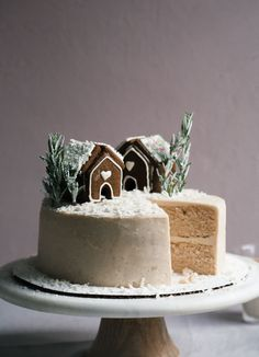 I just like the idea of the house on top horchata cake decorated with gingerbread houses