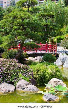 Red Japanese Garden Bridge lush japanese style backyard with small bridge | creative