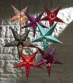 Lightshade Indian Paper Star Lampshade Lots of colours available Fair trade - Folio Gothic Hippy