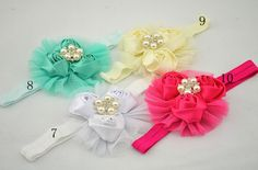 2013 NEW  triple satin rosettes flowers headbands BEAUTY silk rose mesh flower with pearl headband hair accessories 36pcs/lot-in Hair Access...