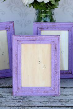 Shabby Chic Purple Frames Rustic Distressed Paint SET OF 4. $26.99, via Etsy.