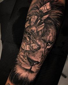 50 Eye-Catching Lion Tattoos That'll Make You Want To Get Inked jaw-dropping black & gray lion tattoo © tattoo artist Dario Castillo 💕💕💕💕💕💕 Hand Tattoos, Lion Forearm Tattoos, Lion Head Tattoos, Forarm Tattoos, Mens Lion Tattoo, Best Sleeve Tattoos, Tattoo Sleeve Designs, Tattoo Designs Men, Body Art Tattoos