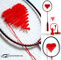 from old badminton rackets-activities for Valentine's Day