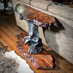 Driftwood wood slab console table made from old growth redwood wood slabs and driftwood root. While the live edge wood is from salvaged logs and roots Wood Resin Table, Driftwood Table, Driftwood Furniture, Rustic Wood Furniture, Western Furniture, Unique Furniture, Wood Tables, Cedar Furniture, Live Edge Furniture