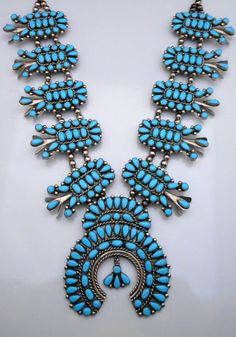 Navajo Silver and Turquoise Squash Blossom Necklace DOUBLE STRAND Large *923