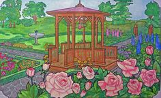 'Victorian Gardens' from 'Victorian House' Coloring Book from Dover's by MK, Colored with Pencil Crayons