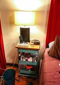 Turned into nightstand w/ board on top{ according to ame }: Totally Obsessed ::: Ikea Raskog Cart Raskog Ikea, Ikea Kids Storage, Storage Hacks, Kitchen Storage, Ikea Organisation, Organization Ideas, Ikea Cart, Ikea Trolley, Storage Trolley