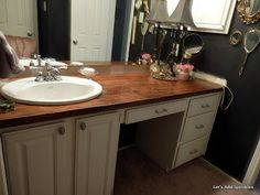 Lets Add Sprinkles: Wooden Bathroom Countertop - Modern Wooden Bathroom Countertop, Glass Tile Backsplash, Wood Bathroom, Bathroom Renos, Bathroom Storage, Bathroom Ideas, Bathrooms, Decorating Blogs, Home Remodeling