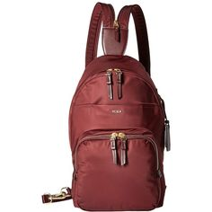 Tumi Voyageur Nadia Convertible Backpack/Sling (Merlot) Backpack Bags (£200) ❤ liked on Polyvore featuring bags, backpacks, convertible bag, tumi bags, zip bag, tumi backpack and backpack bags