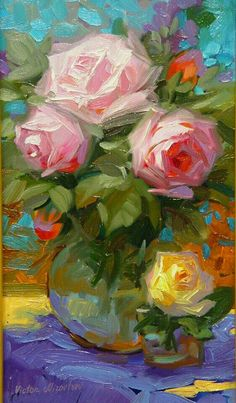 Some Artists Have Become Famous For A Limited Palette Page 35 Of 58 - Painting Acrylic Flowers, Oil Painting Flowers, Abstract Flowers, Flower Artists, Rose Art, Arte Floral, Painting Inspiration, Landscape Paintings, Watercolor Paintings