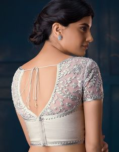 10 Perfect Cotton Saree Blouse Back Neck Designs for the Bride Netted Blouse Designs, Saree Blouse Neck Designs, Fancy Blouse Designs, Bridal Blouse Designs, Saree Jacket Designs Latest, Indian Blouse Designs, Saree Blouse Patterns, Lehenga Blouse, Lehenga Choli