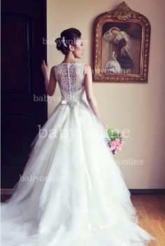 Modest Wedding Dresses 2015 Arabic Ball Gown Vintage Wedding Dresses Lace Crew Illusion Sleeveless Buttons Plus Size Beaded Lace Sheer Beach Bridal Gowns Bo3039 Guest Of Wedding Dresses From Babyonline, $145.8| Dhgate.Com