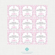 Printable Baptism Favor Tags Favour Tags Thank by MsfitDesigns