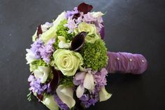 Purple & green wedding bouquet