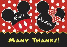 Mickey and Minnie Mouse Thank You Cards by ThenComesPaper on Etsy, $18.00