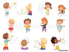 Happy Cartoon, Cartoon Kids, Cartoon Images, Cartoon Drawings, Banners, Children Holding Hands, Paint Splash, Drawing For Kids, Happy Kids