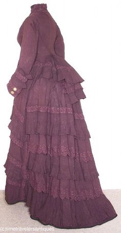 Lovely c1875 Plum Silk Bustle Dress with Pleated Tiers | eBay