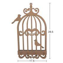 Kuşlu Kafes Anahtarlık 28,5x17,5 cm. Ahşap Obje