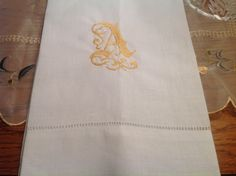 Monogram Hemstitched Hand Linen Guest by EmbroideredHElegance Love it! Only $20 for 2!