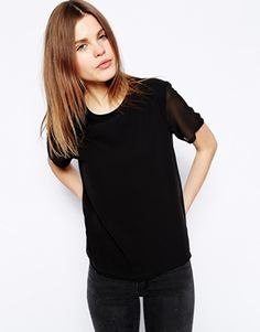Image 1 of ASOS T-Shirt with Woven Layer and Sheer Sleeves