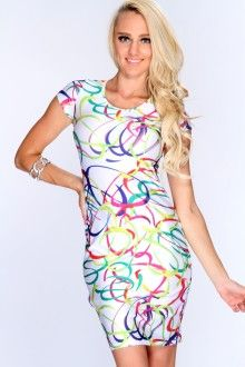 White Multi Printed Short Sleeves Body Con Dress - AmiClubwear
