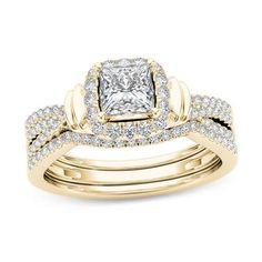 #Valentines #AdoreWe #Zales - #Zales 1 CT. T.w. Princess-Cut Diamond Frame Multi-Row Three Piece Bridal Set in 14K Gold - AdoreWe.com