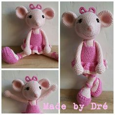 Muis / mouse gehaakt / crochet Angelina Ballerina. Basis patroon van / Basic pattern from Lilleliis