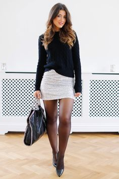 www.streetstylecity.blogspot.com Fashion inspired by the people in the street ootd look outfit sexy skirt heels miniskirt silver sequin pantyhose