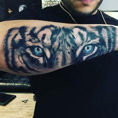 Tiger eyes arm tattoo sleeve forearm men ideas