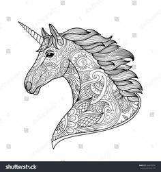 Drawing unicorn zentangle style for coloring book, tattoo, shirt design, logo, sign. stylized illustration of horse unicorn in tangle doodle style Blank Coloring Pages, Horse Coloring Pages, Coloring Books, Zentangle, Tangle Doodle, Adult Color By Number, Unicorn Drawing, Unicorn Printables, Cartoon Drawings Of People