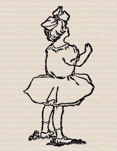 Little Girl Vintage Clip Art Image – Antique 1909 Illustration - Printable Transfer Graphic – Digital Stamp – instant download - CU OK