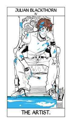 Cassandra Jean is doing a set of Shadowhunter Tarot cards, starting with the characters from the Dark Artifices. Julian Blackthorn, N4, matches The Emperor!