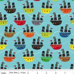 Riley Blake - Treasure Map - Boats - Blue : Sew Modern