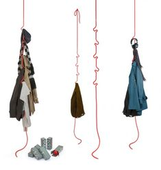 The Roberope coat rack can be suspended from the ceiling and, thanks to its soft but sturdy hooks, can hold clothing, bags, accessories or just about anything suitable for hanging. Thanks to its neutral design and extremely modest space demands the rack can serve as flexible storage in any room of the house. Comes in a variety of bold colors.