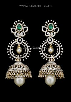 18 Karat Gold in Detachable Diamond Jhumkas - Diamond Dangle Earrings with Color Stones & Pearls This product has Inter Changeable Stones in the Earri Diamond Earrings Indian, Diamond Dangle Earrings, Coral Earrings, Diamond Jewellery, Diamond Jumkas, Diamond Pendant, Jewelry Sets, Gold Jewelry, Gold Earrings Designs