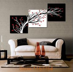 $18.68 - Cool 3 panel Money tree Modern Wall Art Black and white decorative painting Home Decor Print on Canvas,black and white painting - Buy it Now!