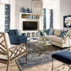 """Ballard Designs on Instagram: """"Pro tip: Mix patterns in different styles and scales using the same color palette to pull a room together perfectly. Shop the look in bio.…"""" Porch Furniture, Brown Furniture, Outdoor Furniture Sets, Arrange Furniture, Rugs In Living Room, Living Room Decor, Living Spaces, French Country Living Room, Hand Tufted Rugs"""