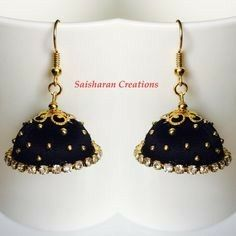 Silk Thread Jhumkas by papersandpassions on Etsy Silk Thread Earrings Designs, Silk Thread Jhumkas, Silk Thread Bangles Design, Silk Thread Necklace, Silk Bangles, Beaded Necklace Patterns, Jewelry Patterns, Fancy Jewellery, Thread Jewellery