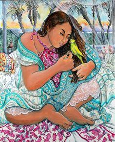 """Nerida de Jong (Born 1945), """"Girl with Bird"""""""
