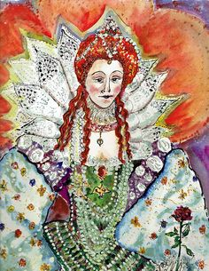 Painting Elizabeth I is a meditation in how many people it must have taken to make her clothing and get her dressed.  Ornate, opulent, with details from around the world advertising Britain's power and glory at a time when Shakespeare's plays were new and Cervantes Don Quixote was only just tilting at windmills. / Original art work is watercolor, pen and ink, mixed media on 300 pound Arches Cold Press Paper • Buy this artwork on apparel, phone cases, home decor, and m...