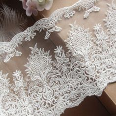 13cm Width White Mesh Embroidery  lace trim For Clothing Dresses Bridal Dresses 5 Yards