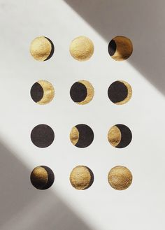 Moon phases by Corina Nika aka Cocorrina Just Ink, Gold Ink, Moon Art, Stars And Moon, Artsy Fartsy, Art Inspo, Illustration Art, Pure Products, Decoration